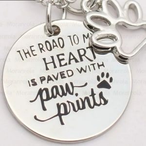 Road to my Heart Paw Prints Necklace